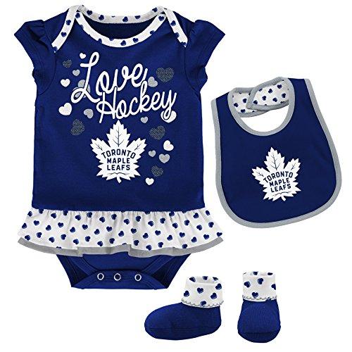 Outerstuff NHL Toronto Maple Leafs Newborn & Infant Love Hockey Bib & Bootie Set, 0-3 Months, Dark Blue