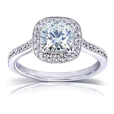 Near Colorless F G Moissanite Engagement Ring with Halo Diamond