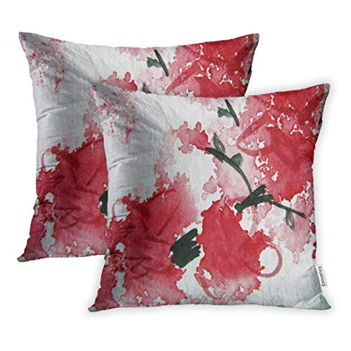 Emvency Set of 2 18x18 Inch Pink Modern Abstract Watercolor 13 Red Blossom Cherry Contemporary Black Throw Pillow Covers Decorative Pillowcase Case Cover Two Sided