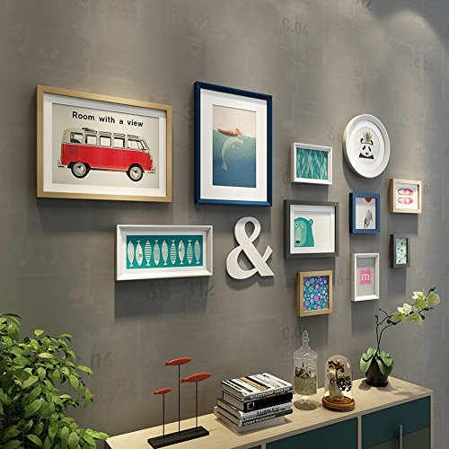 wall photo frames Photo Wall, Europeo Sofa Background Combination Frame, Modern Simple Living Room Decoration Frame Wall Combination (Color : A) by Collage picture frame