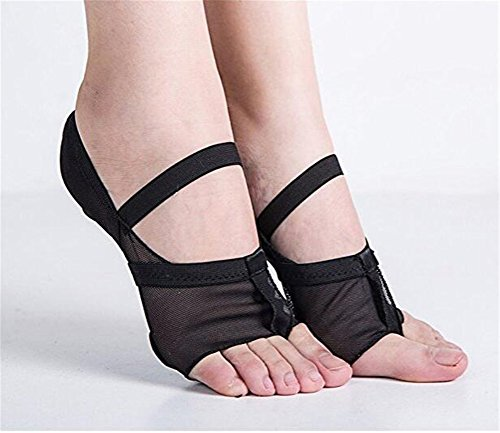 Ballet Belly Dance Paws Pad - Bare Practice Forefoot Tong, Heelless Full Body Mesh Stretch Lyrical Shoes, Yoga Barre Toe Cushions Foot Protection Socks, Metatarsal Ball of Foot Insoles Black