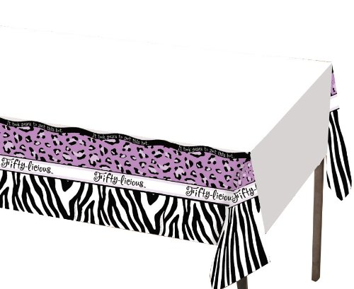 Creative Converting Fifty-Licious Plastic Banquet Table Cover, 54 by 108-Inch