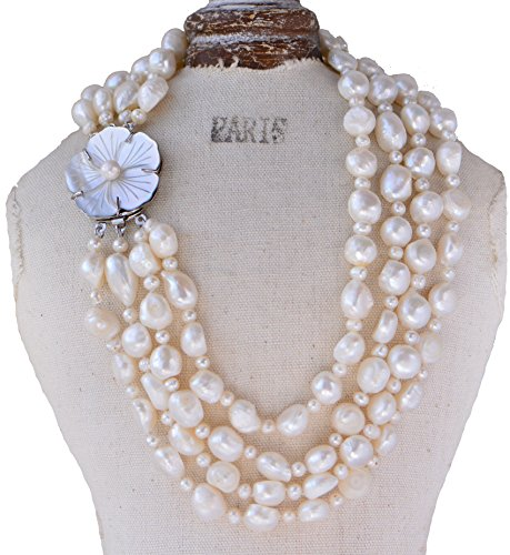 Chunky 10-11mm Baroque & 5mm Off Round White Freshwater Pearl Necklace with Sea Shell Clasp Four Layers