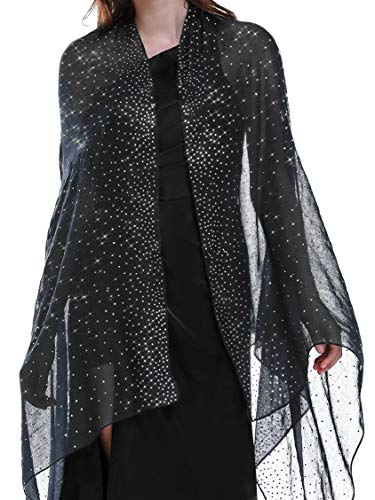 Shawls and Wraps for Evening Dresses Wedding Shawl Wrap Shiny Scarf Black Silver