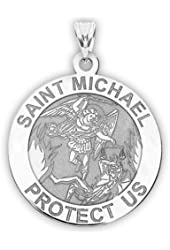 Saint Michael Religious Medal - Available in Solid 10K And14K Yellow or White Gold, or Sterling Silver