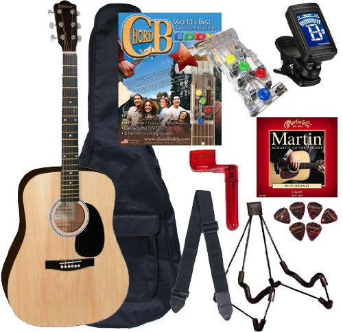 Tank Buddies 100 Tab (Chord Buddy Acoustic Guitar Beginners Package with Full Size Johnson JG-610 Bundle)
