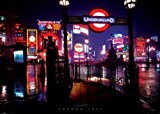 GIANT LAMINATED / ENCAPSULATED London Piccadilly At Night 1967 Poster Measures a massive 55 x 39 inches ( 140 x 100 cm )