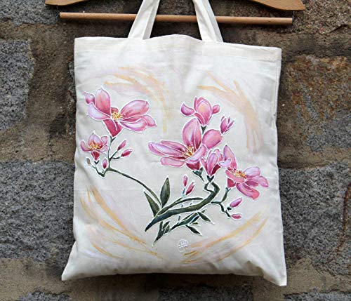 Sale!!!25% Off,Hand Painted Freesia Cotton Bag,Acrylic Painted Freesia,From Weekend beach bag to Everyday Grocery Shopper,Floral Flowers Freesias,Freesia Canvas ()