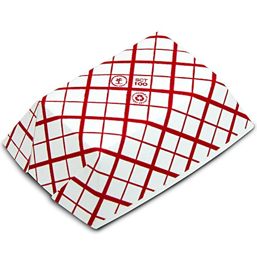 1 lb Heavy Duty Disposable Red Check Paper Food Trays Grease Resistant Fast Food Paperboard Boat Basket for Parties Fairs Picnics Carnivals, Holds Tacos Nachos Fries Hot Corn Dogs [250 Pack] by Fit Meal Prep (Image #3)