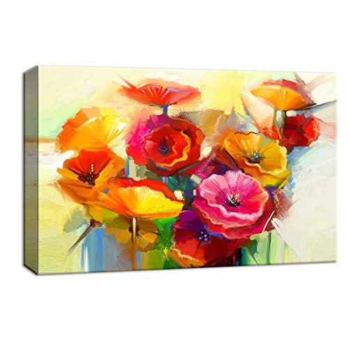 NWT Canvas Wall Art Beautiful Flowers Red Yellow Pink Painting Artwork for Home Decor Framed - 16x24 inches