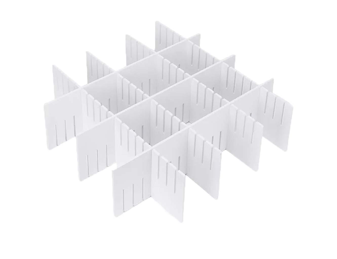 Tuersan DIY Grid Drawer Organizer Drawer Dividers Wood-Plastic Storage Spacer Multipurpose Finishing Shelves for Closet Wardrobe Desk Tea Table Dresser Kitchen Underwear Socks Tableware White(7Pack)