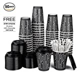 Product Content 1. Disposable Coffee Cups (50 pieces) 2. Matching Coffee Cup Lids (50 pieces) 3. Free Coffee Stirrers (50 pieces)  Product Features MATCHING LIDSLids designed and made-to-fit the cups are provided. Perfectly tight on the cups, won't ...