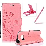 Wallet Leather Case for Galaxy A3 2017,Book Style Pu Leather Case for Galaxy A3 2017,Herzzer Retro Butterfly Flower Pattern Flip Fold Pouch Case with Card Holders Stand Magnetic Case