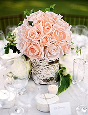 Artiflr Artificial Flowers Rose Bouquet 2 Pack Fake Flowers Silk Plastic Artificial White Roses 18 Heads Bridal Wedding Bouquet for Home Garden Party Wedding Decoration