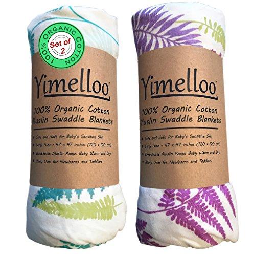 Muslin Swaddle Blankets Organic Cotton Best Baby Shower Gift Unisex Boys Girls