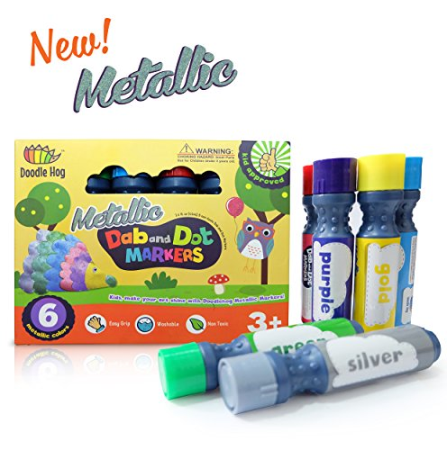 Metallic Dab and Dot Markers 6 Pack in Silver, Red, Gold, Blue, Green and Purple Red Poster Paint Bottle