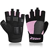 Trideer Weight Lifting Gloves, Breathable & Non-Slip, Workout Gloves, Exercise Gloves, Padded Gym Gloves for Climbing, Boating, Dumbbells, Cross Training