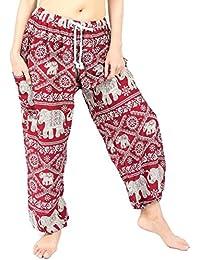 Bohemian Clothes Elephant Prints Harem Drawstring Pants,Perfect for Yoga, Night Wears,Men, Women, One Size Fits...