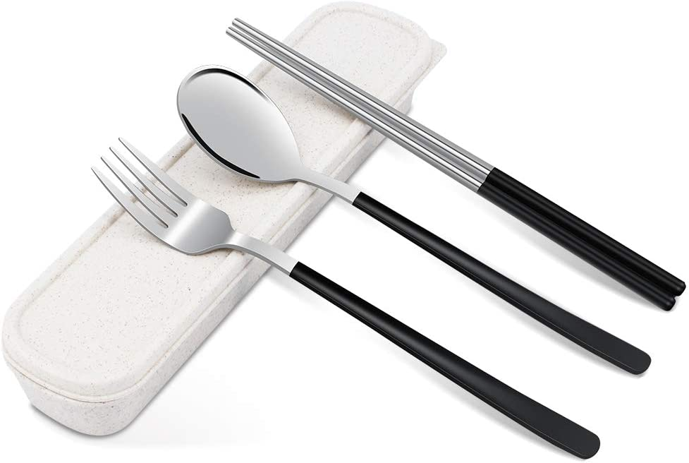 TAECOOOL - Juego de 3 palillos de cocina portátil para palillos coreanos de acero inoxidable, para casa, oficina, escuela, camping, viajes al aire ...