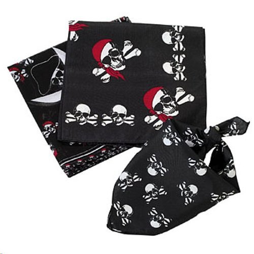 [24 Assorted Pirate Theme Bandanas for Birthday Party Favors / Costume / Headbands] (Childrens Pirate Bandana)