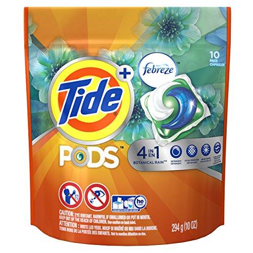 Tide Pods Plus Febreze Laundry Detergent Packs, Botanical Rain, 10 Pcs