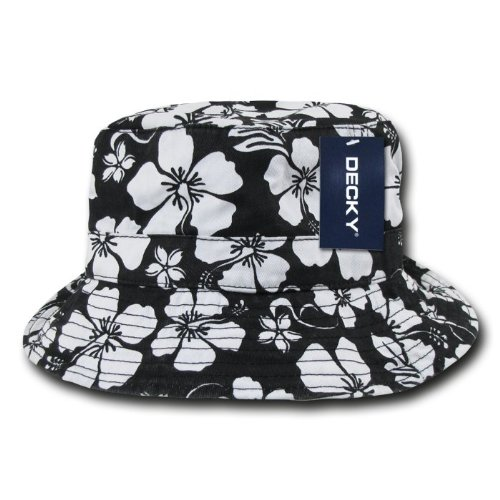 DECKY Floral Polo Bucket Hat, Black, Small/Medium