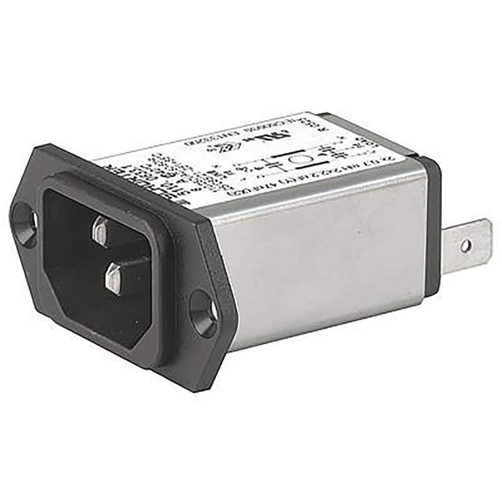 PEM w/Filter; IEC; C14; 250VAC; 10A; FRNT Panel Mt-Scrw; 6.3 QC Term; Standard; IP40; PC1, Pack of 2