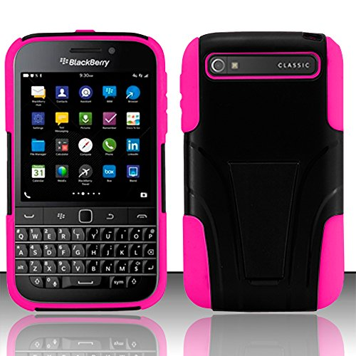 BlackBerry Classic Smartphone (NEW) 2014 Case, NageBee - Hybrid Kickstand Case with Silicone Armor Skin Case for BlackBerry Classic Smartphone Q20 with free Ultra-sensitive Stylus Pen (Hybrid Stand Pink)