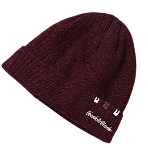 Honghu Gorras Gorros de punto Sombreros de Invierno Hombre con Suave Interior de Forro Polar Rojo 2