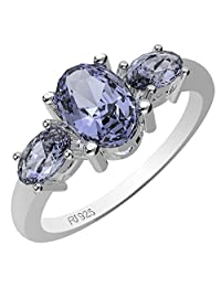 1.60ctw,Genuine Tanzanite & Solid .925 Sterling Silver Ring