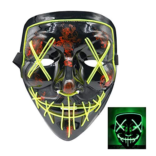 SZMAITOU LED Halloween Mask EL Wire Mask Flashing Cosplay Costume LED Masks Glowing Masks for Halloween Christmas Festival Parties Bar Acting - Green Light]()