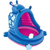 Kids Inflatable Pool. This Small Portable Kiddie Blow Up Above Ground Swimming Pool Is Great For Toddlers & Children To Have Outdoor Water Fun With Floats & Toys. Covered Hippo - Light & Portable.