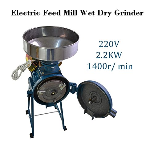 220V Electric Rice Corn Grain Coffee Wheat Feed Mill Wet Dry Cereals - 220 Grain Diameter