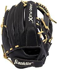 Franklin Sports Pro Flex Hybrid Series Cowhide Fielding Glove, Black/Camel