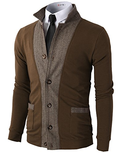 (H2H Men's Casual Two-Tone Herringbone Jacket Cardigans Brown US M/Asia L (JLSK03))