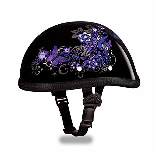Daytona Dot Skull Cap (Daytona Helmets Novelty Eagle Motorcycle Helmet with Purple Butterfly XS Black)