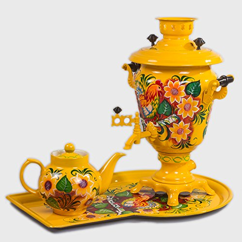 Rustic Electric Samovar Set with Tray & Teapot Russian Samovar