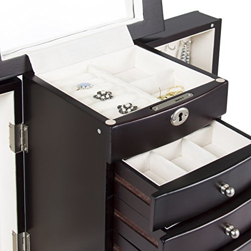 Best Choice Products Handcrafted Wooden Jewelry Box Organizer Wood Armoire Cabinet Storage Chest Espresso by Best Choice Products (Image #4)