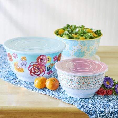 The Pioneer Woman 6 Piece Set Flea Market Floral Melamine Serving Bowls with Lids