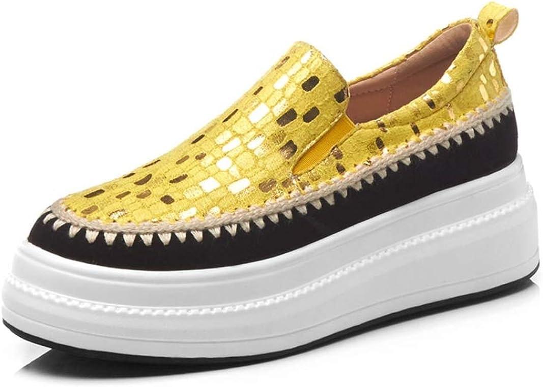 Zapatos de Plataforma para Mujer Desgaste de Cuero Resistente y Transpirable en Pisos Zapatos Casuales Moda de Color Mixto Mocasines a Cuadros para Mujer