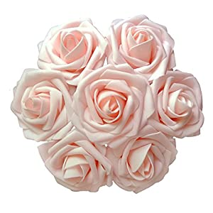 D-Seven Artificial Flowers 30PCS Real Looking Fake Roses with Stem for DIY Wedding Bouquets Centerpieces Party Baby Shower Home Decorations 19
