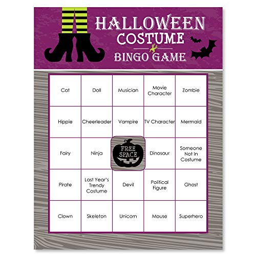 Happy Halloween - Witch Party Bingo Game & Bar Bingo Game Cards - 16 Count -
