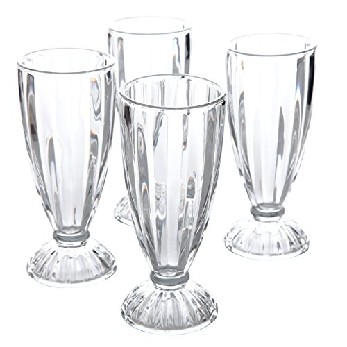 04RM Embossed Glass 12 oz Milk Shake Glass (4 Pack), Clear ()