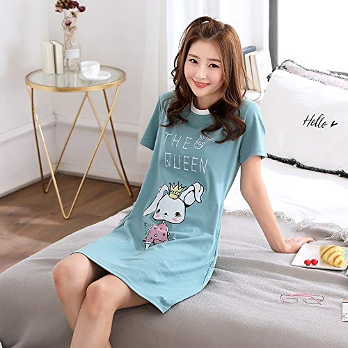 lingerie women girls summer cotton short-sleeved loose unique student sweet casual pajamas tracksuit thin (crown rabbit a2608#