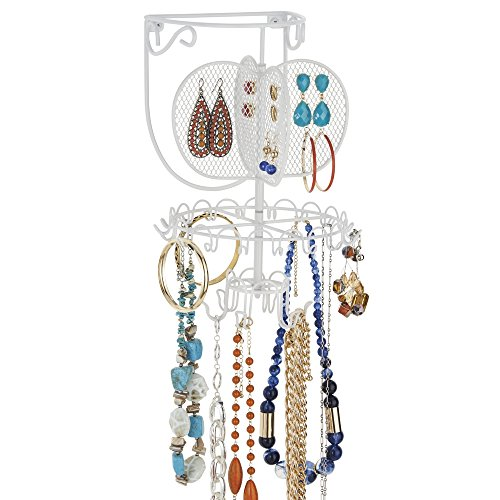 mDesign Spinning Fashion Jewelry Organizer for Rings, Earrings, Bracelets, Necklaces - Wall Mount, White