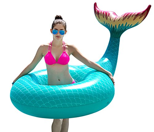 Jasonwell Giant Inflatable Mermaid Tail Pool Float with Rapid Valves Summer Outdoor Swimming Pool Party Lounge Raft Decorations Toys for Adults Kids (Green) (Toy Lounge Pool)