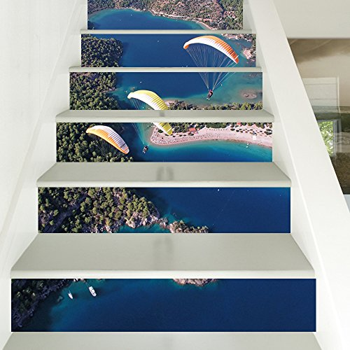 XiYunHan Stairs Wallpaper self-Adhesive Modern Style Skydiving sea Home Decoration 3D Detachable DIY Steps Stickers Modern HD Waterproof Buy Three get one Free