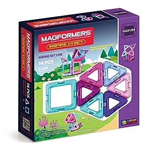Magformers Inspire (14-pieces)Set Magnetic Building Blocks, Educational Magnetic Tiles Kit , Magnetic Construction STEM Toy Set