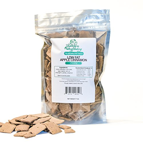 Baltimore Dog Bakery Apple Cinnamon Low Fat All-Natural Dog Treats, 7oz Resealable Bag, Healthy Dog Training Treats, Dog Biscuits, Healthy Dog Cookies, Hand Made in the USA (Dog Bakery Low Fat)