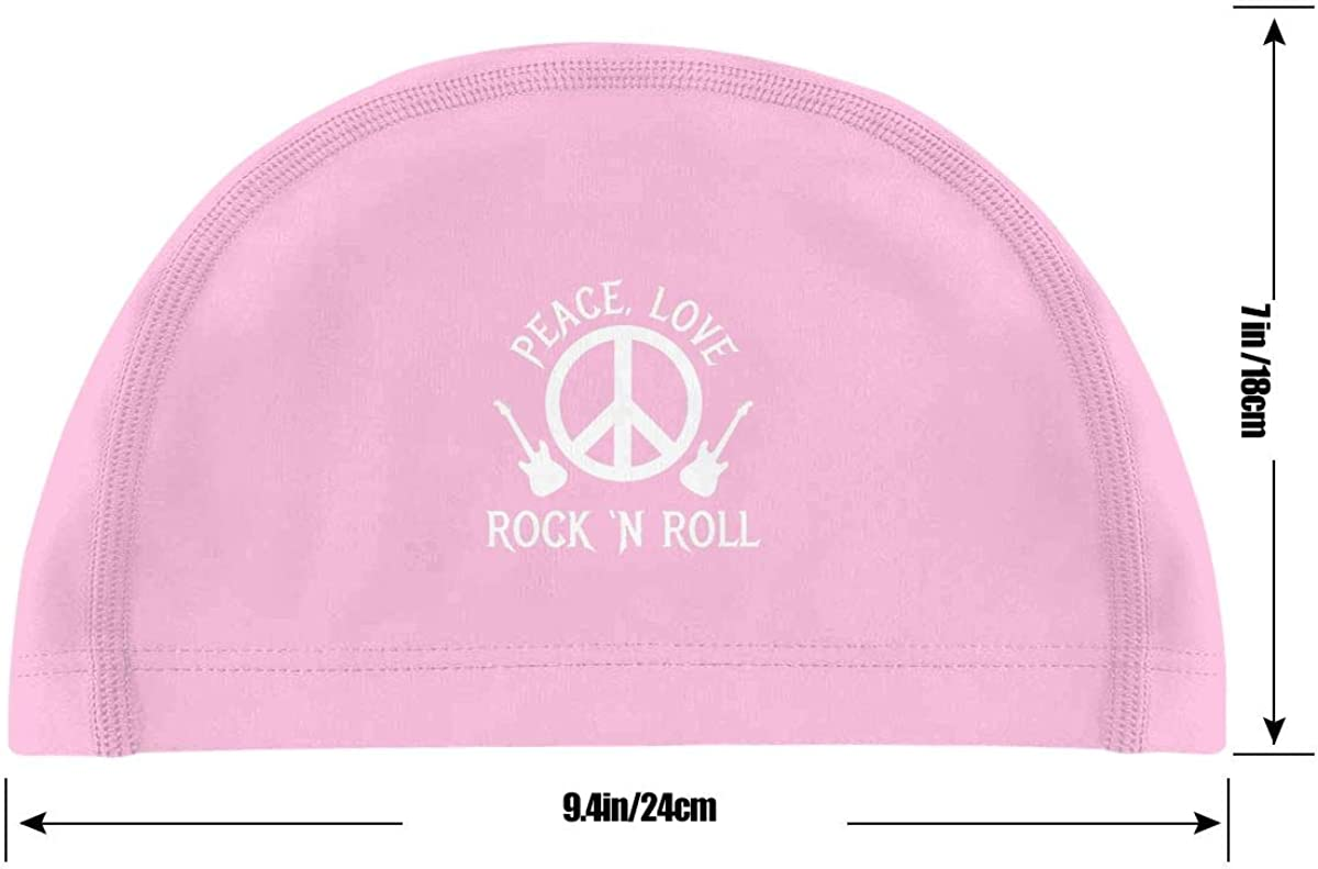 Love /& Rockn Roll Swimming Cap Bathing Caps for Men Women Monerla Ningpu Peace